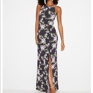 NWT Express Purple Floral High Slit Maxi Dress